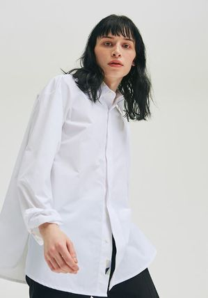 add Shirts Unisex Street Style Long Sleeves Plain Oversized Shirts 10