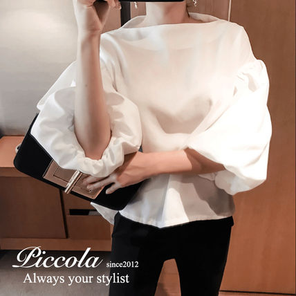 Boat Neck Plain Cotton Medium Office Style Puff Sleeves