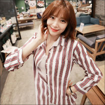 Stripes Street Style V-Neck Long Sleeves Medium Office Style