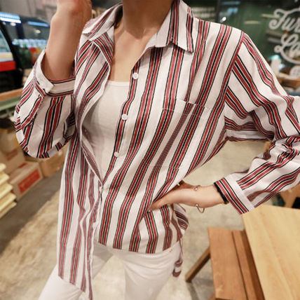 Shirts & Blouses Stripes Street Style V-Neck Long Sleeves Medium Office Style 3