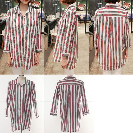 Shirts & Blouses Stripes Street Style V-Neck Long Sleeves Medium Office Style 5