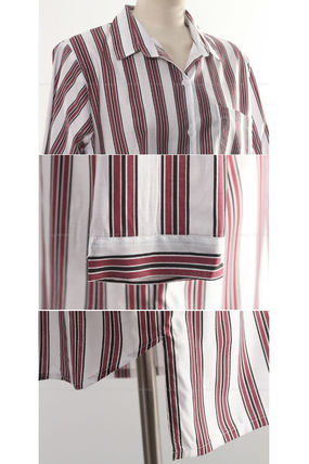 Shirts & Blouses Stripes Street Style V-Neck Long Sleeves Medium Office Style 6