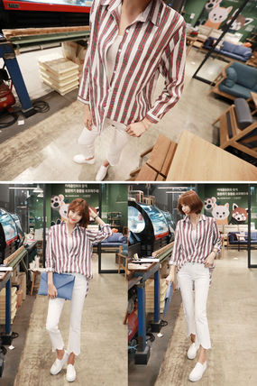 Shirts & Blouses Stripes Street Style V-Neck Long Sleeves Medium Office Style 7