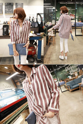 Shirts & Blouses Stripes Street Style V-Neck Long Sleeves Medium Office Style 8