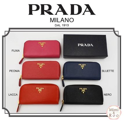 PRADA Unisex Plain Leather Keychains & Bag Charms