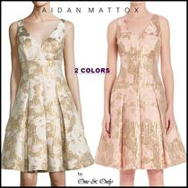 AIDAN MATTOX Flower Patterns A-line Sleeveless V-Neck Medium
