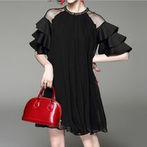Short A-line Chiffon Plain Short Sleeves With Jewels