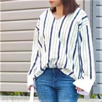 Stripes Casual Style Cotton Medium MIlitary Shirts