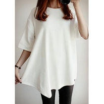 Casual Style U-Neck Plain Long Short Sleeves T-Shirts