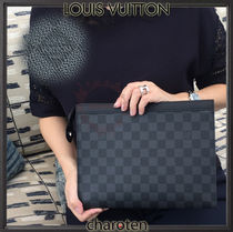 Louis Vuitton DAMIER GRAPHITE Other Check Patterns Unisex Canvas Bag in Bag 2WAY Clutches