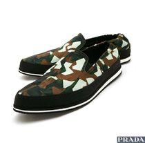 PRADA Camouflage Street Style Leather U Tips Loafers & Slip-ons