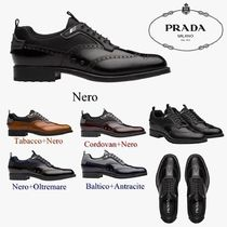 PRADA Wing Tip Loafers Blended Fabrics Bi-color Plain Leather