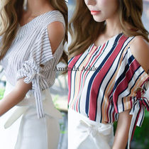 Stripes Casual Style V-Neck Medium