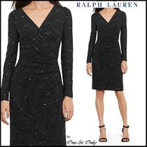 Ralph Lauren Tight V-Neck Long Sleeves Plain Medium Party Dresses