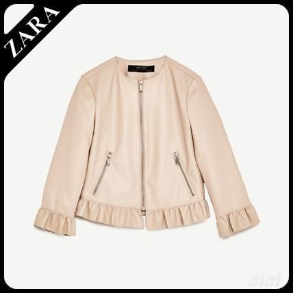 Jacket with leather taste frill