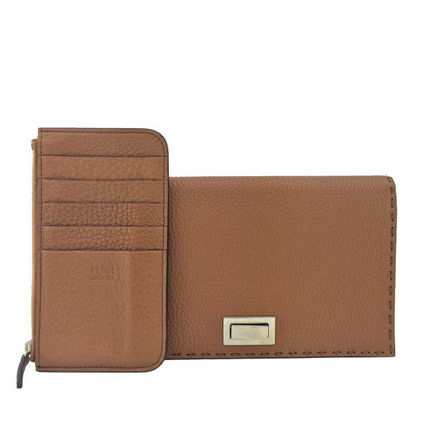FENDI SELLERIA Plain Leather Handmade Long Wallets
