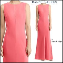 Ralph Lauren Maxi Sleeveless Boat Neck Plain Long Party Dresses