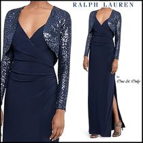 Ralph Lauren Maxi V-Neck Long Sleeves Plain Long Party Dresses
