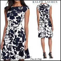 Ralph Lauren Flower Patterns A-line Sleeveless Boat Neck Medium