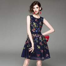 Short Flower Patterns A-line Sleeveless Party Dresses