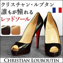 Christian Louboutin Open Toe Leather Peep Toe Pumps & Mules