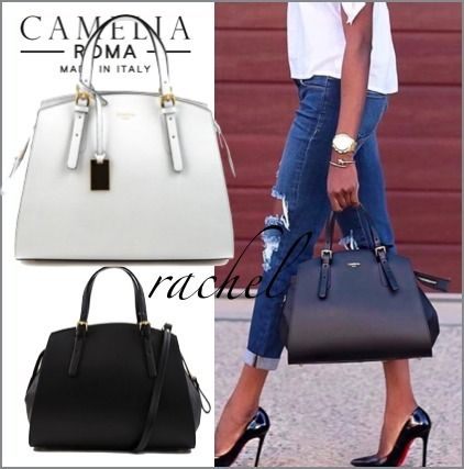 2WAY Plain Leather Elegant Style Handbags