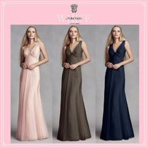 Vera Wang Tight Sleeveless V-Neck Plain Long Party Dresses