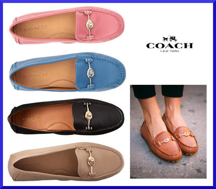 Coach Moccasin Round Toe Casual Style Plain Leather