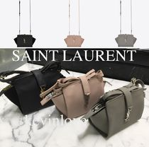 Saint Laurent CABAS Calfskin Plain Elegant Style Shoulder Bags