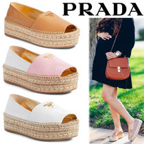 PRADA Platform Bi-color Plain Leather Lace-Up Shoes