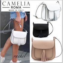 CAMELIA ROMA Casual Style Plain Leather Fringes Shoulder Bags
