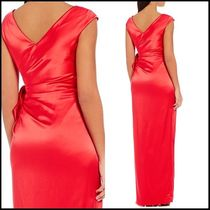 KAY UNGER Wrap Dresses Sleeveless V-Neck Plain Long Party Dresses