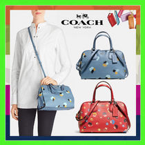 Coach NOLITA Flower Patterns Casual Style 2WAY Leather Handbags