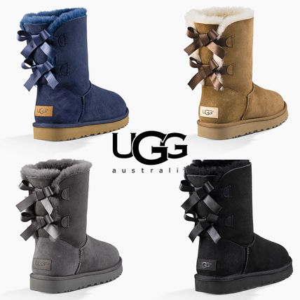 UGG Australia Ankle & Booties Round Toe Rubber Sole Casual Style Sheepskin Blended Fabrics