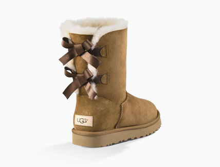 UGG Australia Ankle & Booties Round Toe Rubber Sole Casual Style Sheepskin Blended Fabrics 10