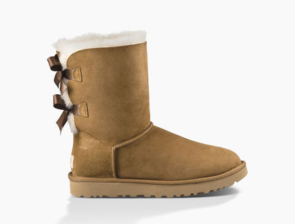 UGG Australia Ankle & Booties Round Toe Rubber Sole Casual Style Sheepskin Blended Fabrics 11