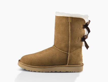 UGG Australia Ankle & Booties Round Toe Rubber Sole Casual Style Sheepskin Blended Fabrics 13