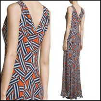 DIANE von FURSTENBERG Maxi Silk Sleeveless V-Neck Long Party Dresses