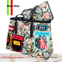 PRADA Flower Patterns Casual Style A4 Totes
