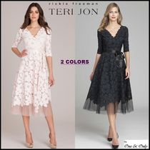 TERI JON Flared V-Neck Plain Medium Short Sleeves Lace Party Dresses