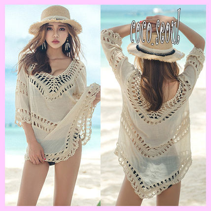 V Poncho cover up on vacation swimsuit
