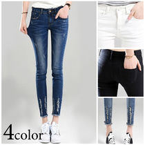 Casual Style Denim Plain Long Skinny Jeans
