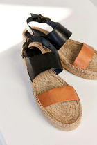 SOLUDOS Open Toe Platform Casual Style Street Style Plain Leather