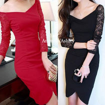 Tight Nylon Long Sleeves Plain Medium Party Dresses