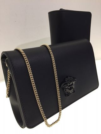 Calfskin 2WAY Chain Plain Party Style Clutches