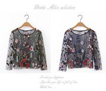 Flower Patterns Casual Style Blended Fabrics U-Neck Lace
