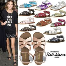 SALT WATER SANDALS ORIGINAL Open Toe Plain Leather Handmade Flip Flops Flat Sandals