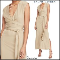 Ralph Lauren Wrap Dresses Sleeveless V-Neck Plain Long Party Dresses
