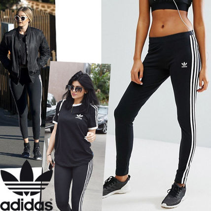 adidas SUPERSTAR Stripes Casual Style Street Style Bi-color Cotton Long