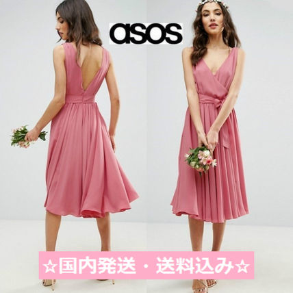 ASOS WEDDING Ribbon waist MIDI